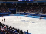 Both U.S. pairs are on the ice to warm up.