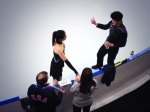 Maia and Alex Shibutani on the practice ice.