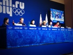 All three Team USA ice dancing teams gather for a press conference.