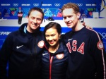 Madison Chock and Evan Bates pose with their coach Igor Shpilband.
