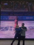 At a rink in the Mountain Cluster we found Davis and White's short dance being played on a big screen...Tanith Belbin and Jeremy Abbott nailed the end pose.