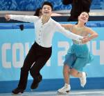 Maia and Alex Shibutani on the ice for their Olympic debut. (Credit Getty Images)