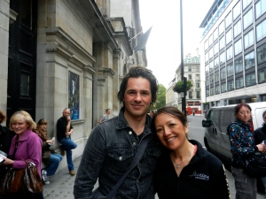 LaReau, wearing her skating jacket, meets up with Phantom Peter Joback in London.