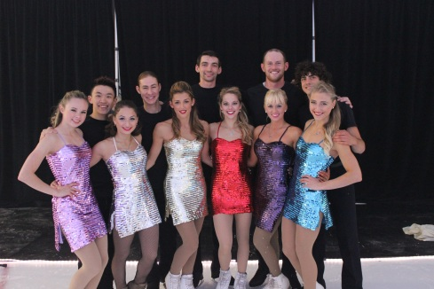 Mariah Bell, Elene Gedevanishvili, Samantha Cesario, Alexa Scimeca, Caydee Denney, Piper Gilles; back row, l-r Jimmy Ma, Jason Brown, Chris Knierim, John Coughlin, Paul Poirier