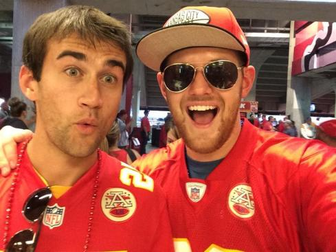 Kansas City fans Ryan Bradley and John Coughlin enjoyed the Chiefs big win over the Patriots.
